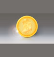 coin of virtual currency bitcoin with sun glare vector image vector image