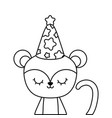 cute monkey animal with hat party vector image vector image