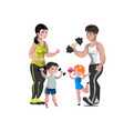 dad mother son and daughter lead a healthy vector image vector image