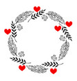 doodle heart and leaf circle frame vector image