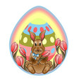 easter bunny on a background of tulips vector image