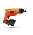 electric orange cordless drill isolated on white vector image vector image
