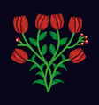 elegant embroidery decorative tulip flowers design vector image vector image
