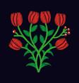 elegant embroidery decorative tulip flowers design vector image