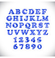 English alphabet and numerals from blue balloons