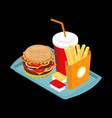 fast food on tray hamburger and drink french vector image vector image