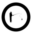 fisherman icon black color in round circle vector image vector image