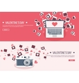 Flat background with photos vector image vector image