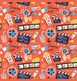 flat cinema seamless pattern design with film vector image