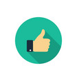 flat like icon thumb up symbol with shadow finger vector image vector image