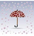 Flowers are falling on red umbrella vector image vector image