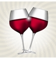 Full Glass of Red Wine on Swirl Background vector image vector image