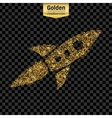 Gold glitter icon of rocket isolated on vector image