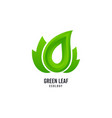 green leaf logo bio products icon natural vector image