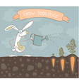 Grow together rabit vector image vector image