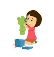 happy girl opening the gift of teddy bear vector image