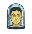 head under glass cover sketch vector image vector image