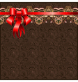 Holiday floral background with red ribbon EPS10 vector image vector image