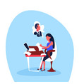 infatuated businesswoman sitting office workplace vector image vector image