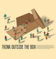 isometric group business people think outside box vector image vector image