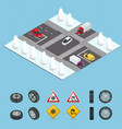 isometric slippery ice winter snow road and vector image vector image
