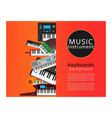 keyboard musical instruments shop with classical vector image vector image
