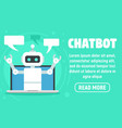 laptop chatbot concept banner flat style vector image vector image