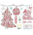 Merry Christmas treeballsLetteringgarlands vector image vector image