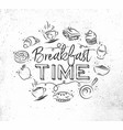 monogram breakfast time vector image vector image
