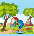 playground scene with many kids playing vector image
