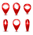 realistic detailed 3d red map pointer pin set vector image