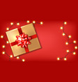 red bow gift box and lights realistic vector image vector image