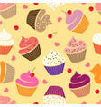 seamless pattern cupcakes various cakes hearts vector image