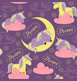 seamless pattern with sleeping unicorn vector image vector image