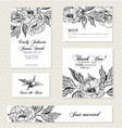 set invitation cards with vintage flowers vector image vector image