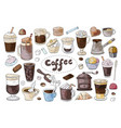 set of hand drawn different types of coffee on the vector image vector image