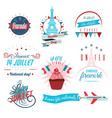 set of happy bastille day greetings card design vector image vector image