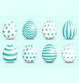 set of realistic easter decorated eggs on vector image