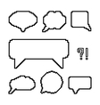 set of white pixel outline speech bubbles vector image