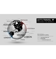 Shiny world globe with tag cloud with the capitals vector image vector image