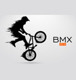 silhouette of a bmx rider vector image