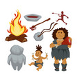 stone age primitive people and devices woman and vector image vector image