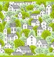 trees and houses seamless pattern spring light vector image vector image