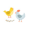 two chicken - hen and rooster - easter characters vector image vector image