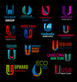 u letter icons modern corporate identity design vector image vector image