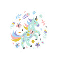 unicorn with flowers and butterflies on white vector image