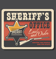 western sheriff badge and gun vector image vector image