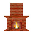winter interior bonfire fireplace made of bricks vector image