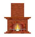 winter interior bonfire fireplace made of bricks vector image vector image