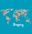 world map with shopping and sale icons vector image vector image